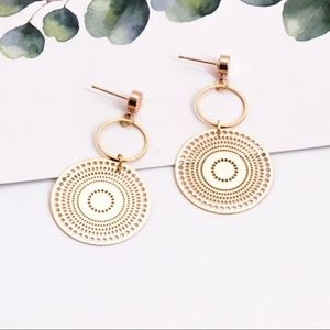Jewelry - Gold Colored Drop Hoop Earrings